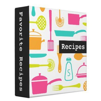 Colorful custom kitchen recipe binder / organizer from Zazzle.com