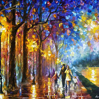 "Family By The Lake — Oil Painting On Canvas By Leonid Afremov. Size: 40""x30"""