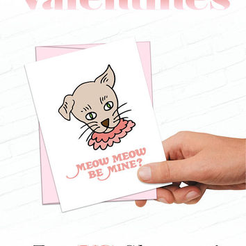 Mister Rogers Valentine Cards, Retro Valentines Card, Henrietta Pussycat Valentine, Meow Meow Be Mine, Cat Valentine Card, Funny Valentines