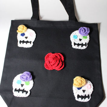 Sugar Skull Trick Or Treat Bag,  Day of the Dead Tote Bag, Dia De Los Muertos Candy Bag, Halloween Crochet Goodie Bag