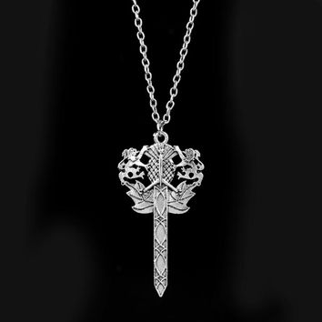 Outlander Scottish National Flower Thist Sword Necklace TV Jewelry Pendants Necklaces Gothic Style