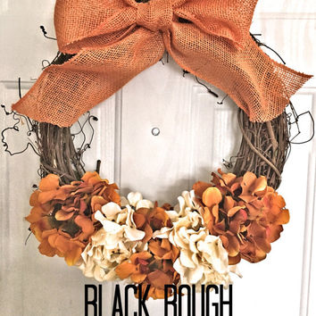 Burlap Fall Door Wreath, Fall Wreath, Halloween Wreath, Door Wreath, Holiday Wreath, Monogram Wreath