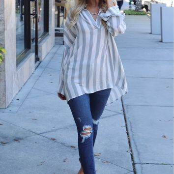 Oversized Striped Top Black