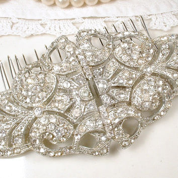 Antique Art Deco Bridal Hair Comb, 1920s Headpiece, Pave Rhinestone Dress Clips to OOAK Large Hairpiece Accessory Great Gatsby Wedding