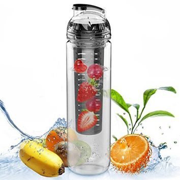 CAMTOA 27oz/ 800ml Sport Tritan Fruit Infuser Water Bottle to Create Your Own Naturally Flavored Fruit Infused Water, Juice,Lemonade and Sparkling Beverages-Choice of Dazzling Colors-BPA Free