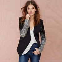 Gradually Changing Color Sequin Slim OL Women Blazer Coat