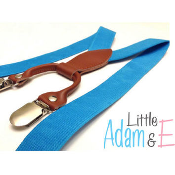 Blue Baby Boy Suspenders,baby boy suspenders, Light Blue, toddler suspenders, Bright Blue Suspenders for Baby Boy, Light Blue