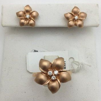Luxinelle 14K Rose Gold Hawaiian Flower Diamond Jewelry Set - Matching Stud Earrings and Ring by Luxinelle® Jewelry