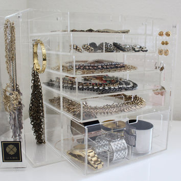 Clear Acrylic Jewelry or Makeup Organizer with Drawers