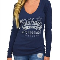 Dallas Cowboys Womens Vintage Vneck Thermal Top | SportyThreads.com