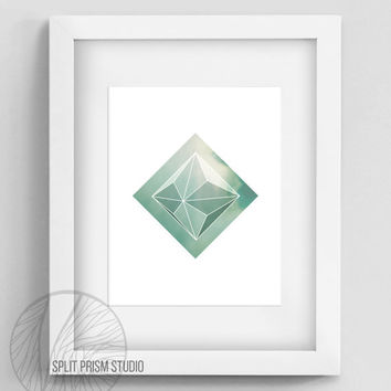 Green Prism Instant Download Wall Art, Printable Wall Art, Wall Art, Geometric Wall Art, Geometric Home Decor, Prism, Green Prism, Minimal