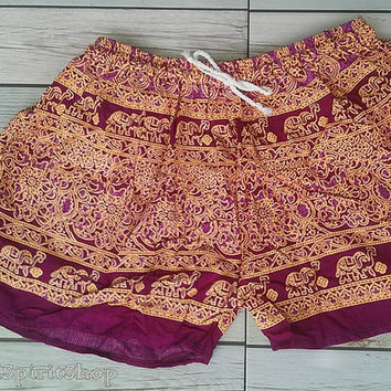 Beetroot Red Elephants Print Shorts Summer Beach Fashion Clothing Aztec Ethnic Hobo Tribal Women Clothes Cute Comfy with Tank top or Jeans