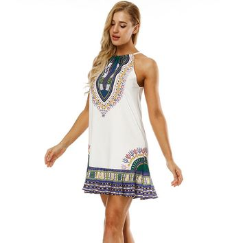 Boho Printed Open Back Mini Dress
