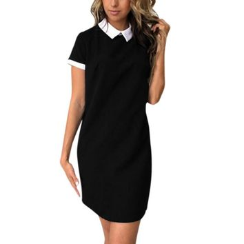 Women Dress Summer Solid Short Sleeve Cute Peter Pan Collar Casual Dress For Woman 2017
