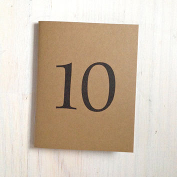 Medium Notebook: 10, Wedding Notebook, Birthday, Number, Table Number, Wedding, Favor, Journal, Blank, Unlined, Unique, Natural, Notebook