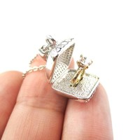 3D Diamond Ring Love Proposal Pendant Necklace in Silver   Anniversary Gifts