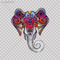 Decals Vinyl Sticker Colorful Elephant childrens Bedroom Kids Playroom Roommates Car Window Wall Art Decor Doors Helmet Truck Motorcycle Note Book Mobile Laptop Size: 4 X 3.4 Inches Vinyl color print
