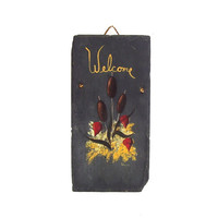 Vintage Welcome Sign Gray Slate Stone Hand Painted Modern Cat O Nine Tails Red Gold Folk Art Plaque