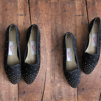 studded black flats / gold stud shoes / flats 75 door allencompany