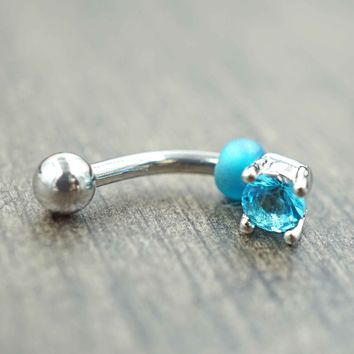 Aqua Blue Crystal Daith Rook Eyebrow Ring Piercing