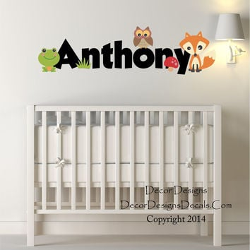 Woodland Animals Custom Name Printed Fabricvinyl Wall Decal Sticker