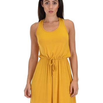 Lyss Loo At Ease Waist Tie Mustard Tank Dress