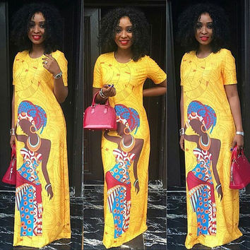 Short Sleeve African Bazin Printed Maxi Dress