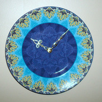 Turquoise and Blue Wall Clock, Unique Plate Clock,  Kitchen Clock, Unique Wall Clock, Wall Decor, Home Decor, Decor and Housewares No. 1255