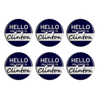 Clinton Hello My Name Is Plastic Resin Button Set of 6