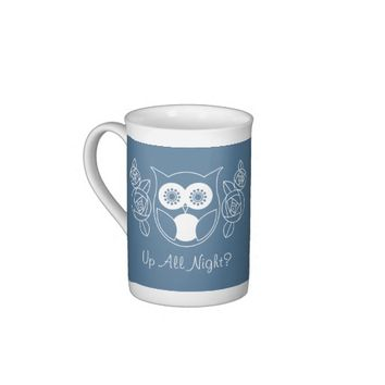 Up All Night? Cute Retro Owl and Roses Custom Tea Cup