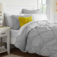 Diamond Dream Duvet Cover, Full/Queen, Light Grey