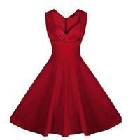 Women's Cut Out Polka Dot Swing Elegent Vintage Sleeveless V-Neck Vintage Casual Cocktail Party 1950'S Retro Bridesmaid Dress S-XXL = 1931574148
