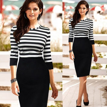 New Women's Stripe Color Block Tunic Party Wear To Work Bodycon Sheath Dress