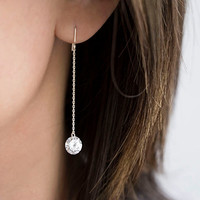 Tiny Cubic Zirconia CZ Sterling Silver Long Dangle Chain Earrings