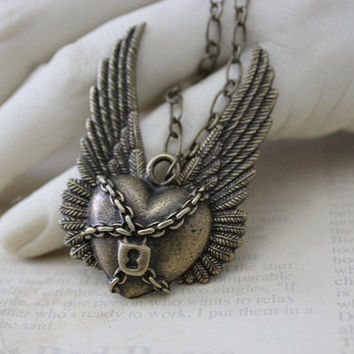Steampunk Necklace, Chained Heart, Neogothic Steam punk Jewelry SRAJD DC021