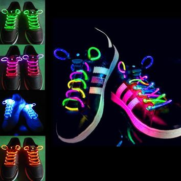 2pcs! Fashion LED Shoelaces Shoe Laces Flashing Light Up Glow Stick Strap Neon Shoe Strings Luminous Laces Disco Party Supplies