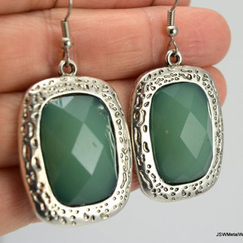 Large Antiqued Silver Earrings, Faceted Acrylic Green Earrings, Green Earrings, Pewter Earrings, Large Earrings, Gift for her, Gift under 30