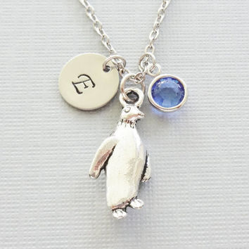 Penguin Necklace, Winter, Arctic Bird, Aquarium, Animal Jewelry, Swarovski Birthstone, Silver Initial, Personalized Monogram, Hand Stamped