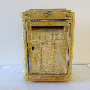 Original Vintage French Post Box Cast Metal 1962 French Mailbox