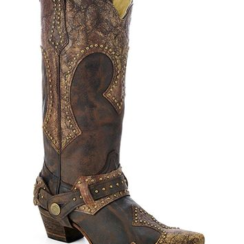 CORRAL Women's Studded Harness Cowgirl Boot Snip Toe - A3073