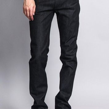Men's Skinny Fit Raw Denim Jeans DL936 (Black)