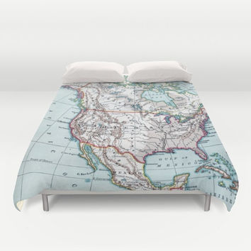 Map of North America Duvet Cover or Comforter - colorful,  bed - bedroom, travel decor, cozy soft, Canada, United States, boy's room