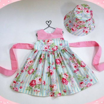 18 month pink and blue floral dress easter dress with matching hat special occasion baby outfit baby hat baby girl pink roses blue stripe