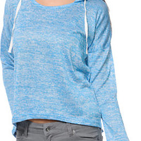 Empyre Hacci Neon Blue Knit Pullover Hoodie