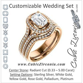 CZ Wedding Set, featuring The Mia Sofia engagement ring (Customizable Cathedral-Halo Radiant Cut Style with Wide Split-Pavé Band)