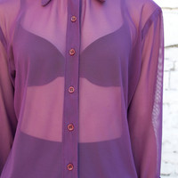 Vintage Sheer Mesh 1990's Violet Purple Button Up Oxford Blouse S/M