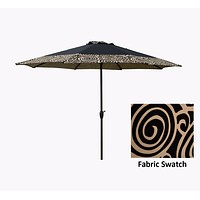 9' Outdoor Patio Market Umbrella with Hand Crank and Tilt - Black and Tan Swirl