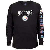 Pittsburgh Steelers Got Six Rings 2-Sided Longsleeve Black T-Shirt - Official Online Store