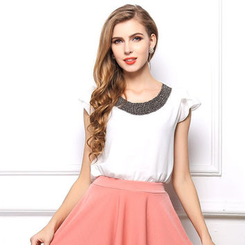European Style Chiffon Butterfly Sleeved T-shirt Tank Tops