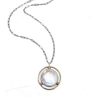 Moonstone Bronze Amulet Necklace